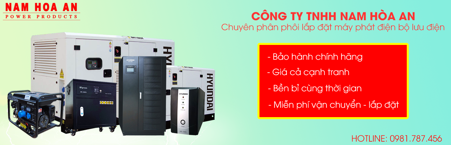 Máy phát điện bộ lưu điện Hyundai Nam Hòa An